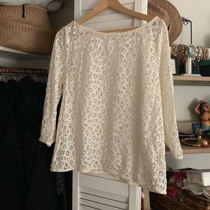 Super cute LOFT cream lace crochet top size L